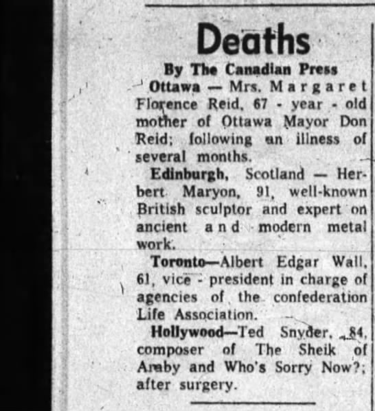 Herbert Maryon death notice, The Ottawa Journal, 21 July 1965 - Deaths By The Canadian Pratt -J Ottawa Mrs....