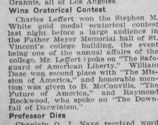 Great Grandpa - Orannis, all of Los Angeles. Wins Oratorical...