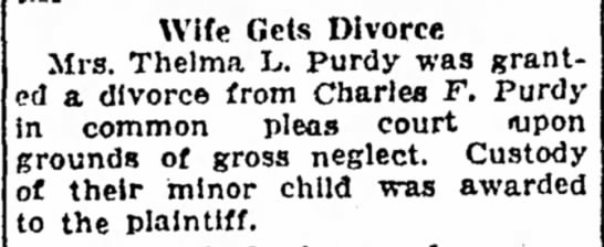 Thelma and Charles Purdy divorce -