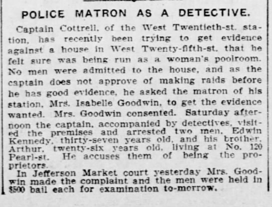 """Police Matron as a Detective"" 1902 (Isabella Goodwin) -"