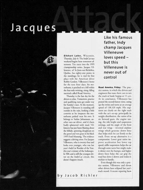 Jacques Villeneuve Ottawa Citizen Feature Profile 1996: Pg1 -