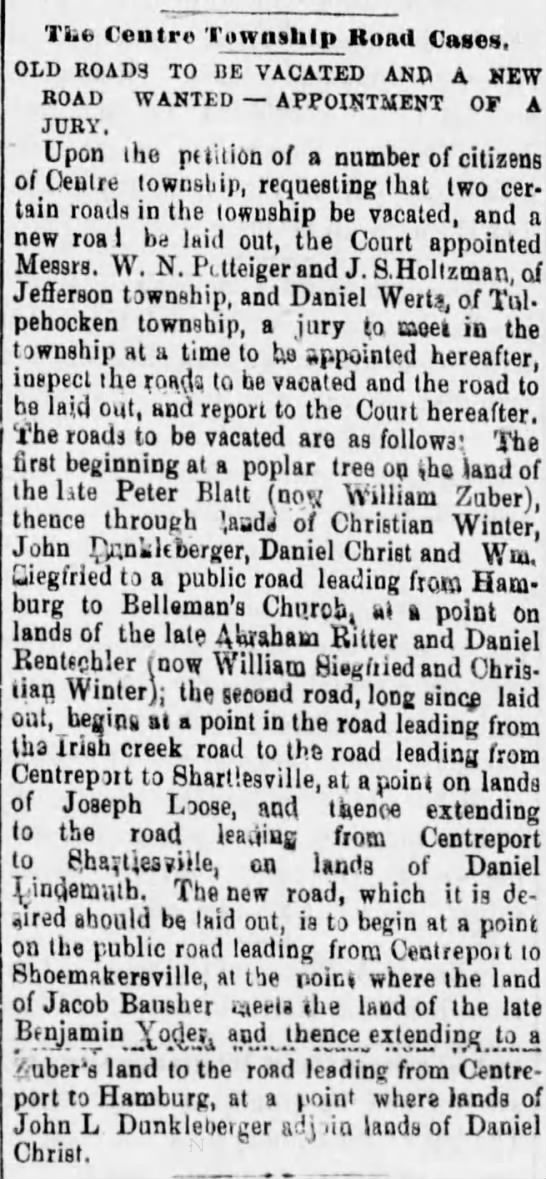 WINTER, Christian 30 Jun 1880 p  1 Reading Times Reading, PA