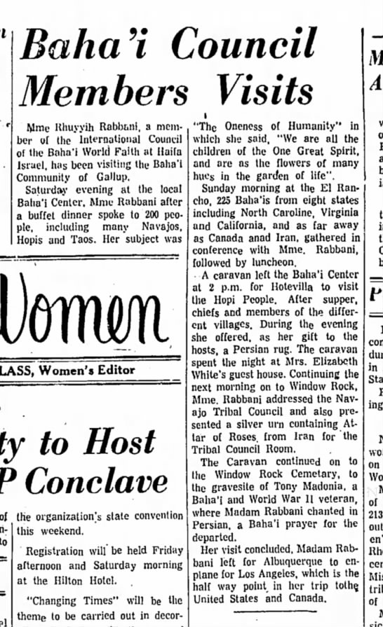 1960-05-11, The Gallup (NM)Independt,Madam Rabbani speaks to Navajos, Hopies and Taos -