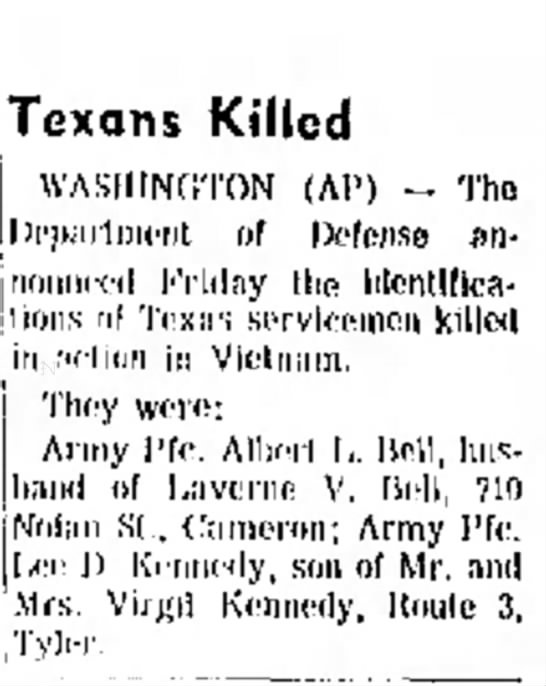 PFC Lee Donnie Kennedy Killed In Action - Vietnam 12.13.1969 Abilene Reporter News -