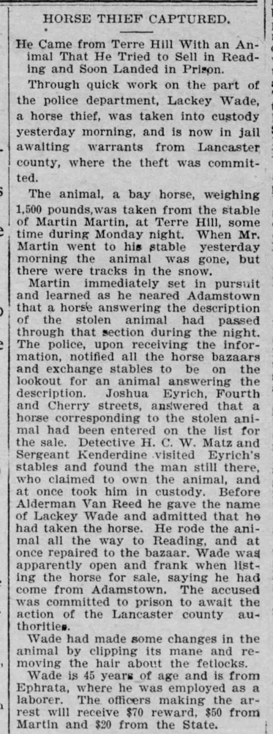 Joshua R Eyrich testifies in horse theft, Feb 1899 -