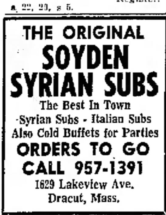 Soyden's Syrian Subs ad in Lowell Sun Jan 2, 1973 -