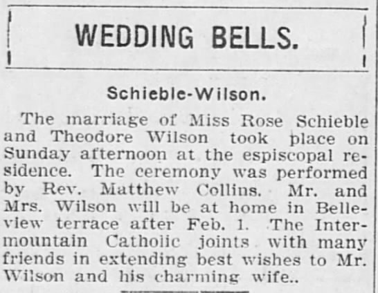 Thedore Wilson marriage in 1909 -