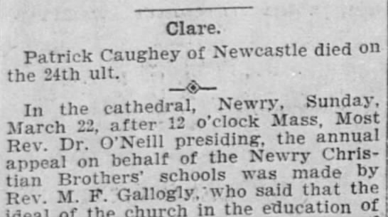 - Clare Patrick Caughey of Newcastle died on the...