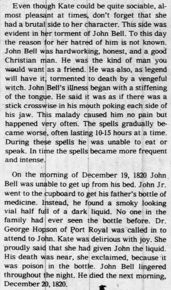 "Kate ""Bell Witch"" hated John Bell -"