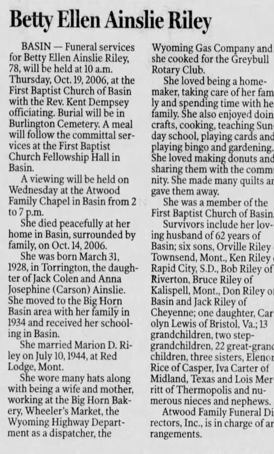 Obituary for Betty Ellen Ainslie Riley, 1928-2006 (Aged 78) -