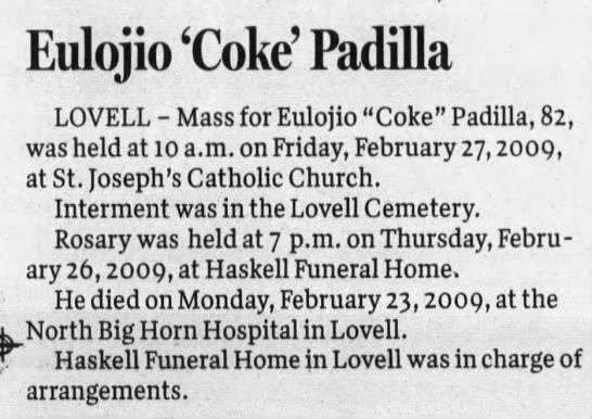 Obituary for Eulojio Padilla (Aged 82) -