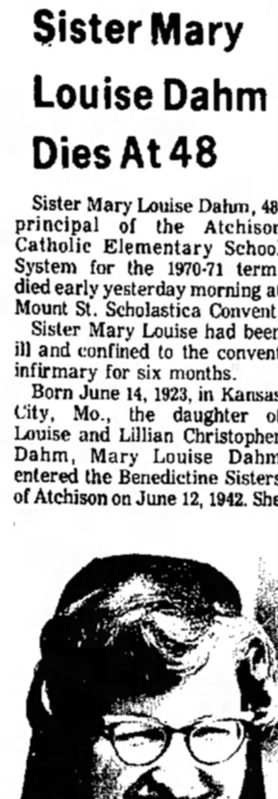 Sister Mary Louise Dahm 1972 -