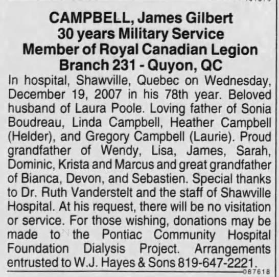 James Gilbert Campbell obituary -