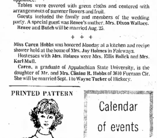 Hostess Mrs Holmes - Tables were covered with green cloths and...