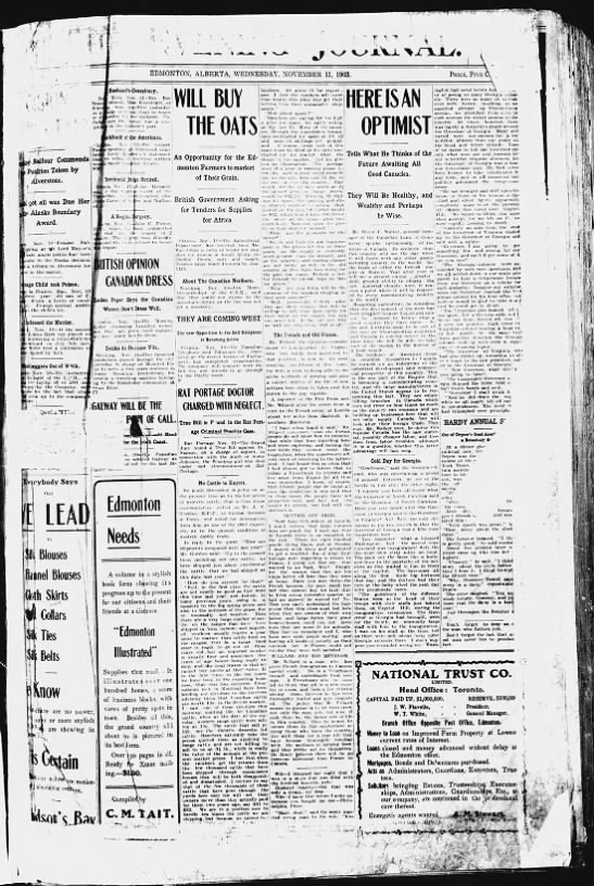 First Edition of the Edmonton Journal - November 11, 1903 -