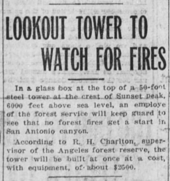 1915-3-27 Lookout Tower To Watch For Fires -