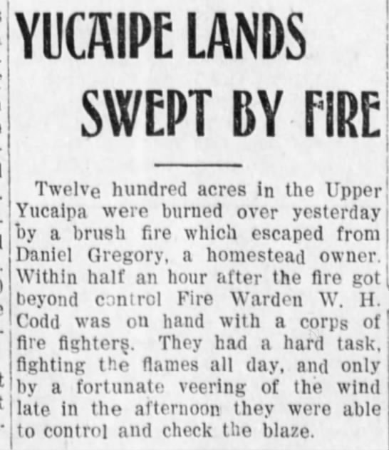 1908-8-20 Yucaipa Lands Swept By Fire -