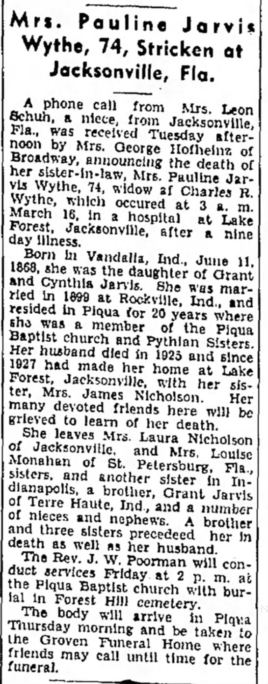 Pauline Jarvis Wythe daughter of Grant and Cynthia Jarvis in Vandalia, IN. -