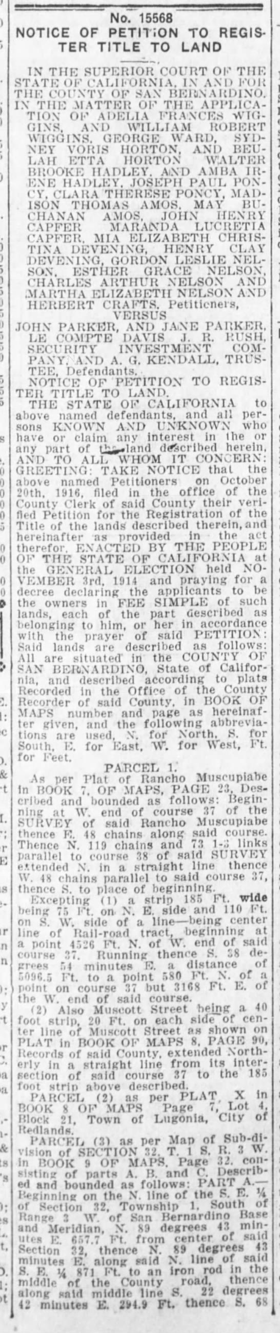 21 October 1916 Petition to register land SB Sun -