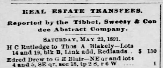 Real Estate transfer to G E Blair-1891 -