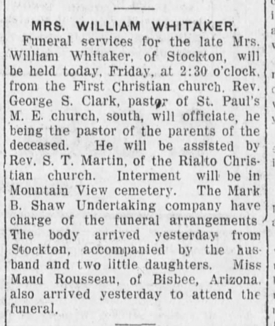 1912-06-28 WHITAKER WILLIAM MRS FUNERAL SERVICES - MRS. WILLIAM WHITAKER. Funeral services for the...