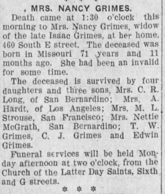 Obituary of Nancy Wilson Grimes - Newspapers com