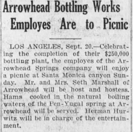 Arrowhead Bottling Works -- bottlers of Pen Yugal Spings  Seth Marshall's company -
