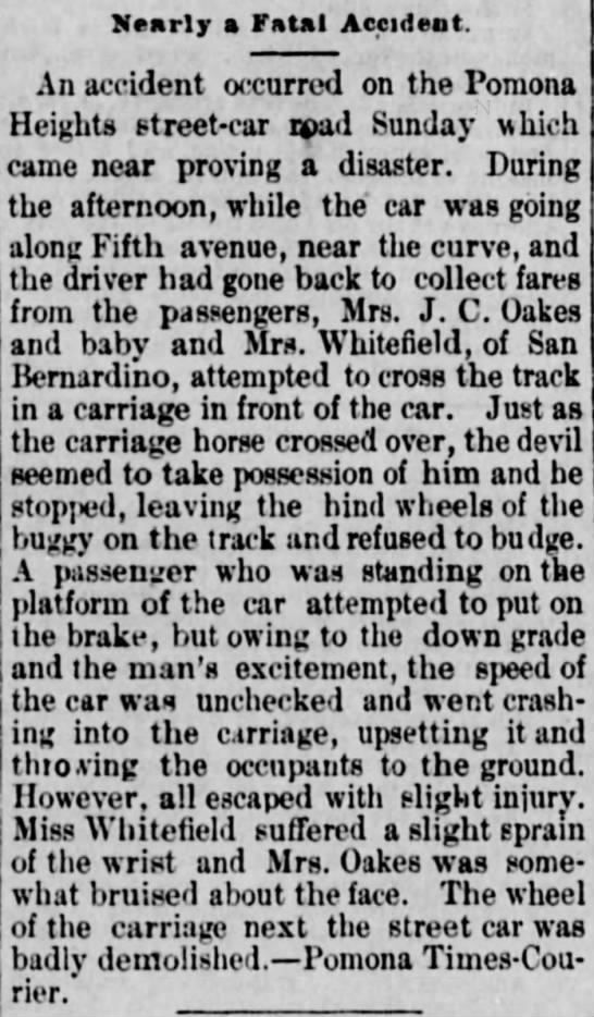 Possibly Florence Whitefield in accident -