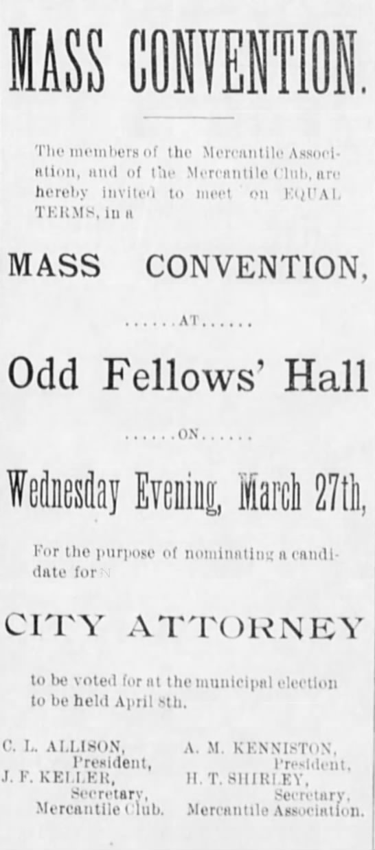 Mass Convention to nominate City Attorney 26 March 1895 -