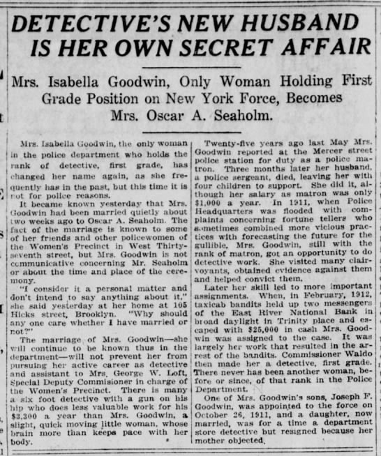 """""""Detective's New Husband Is Her Own Secret Affair"""" 1921 (Isabella Goodwin) -"""
