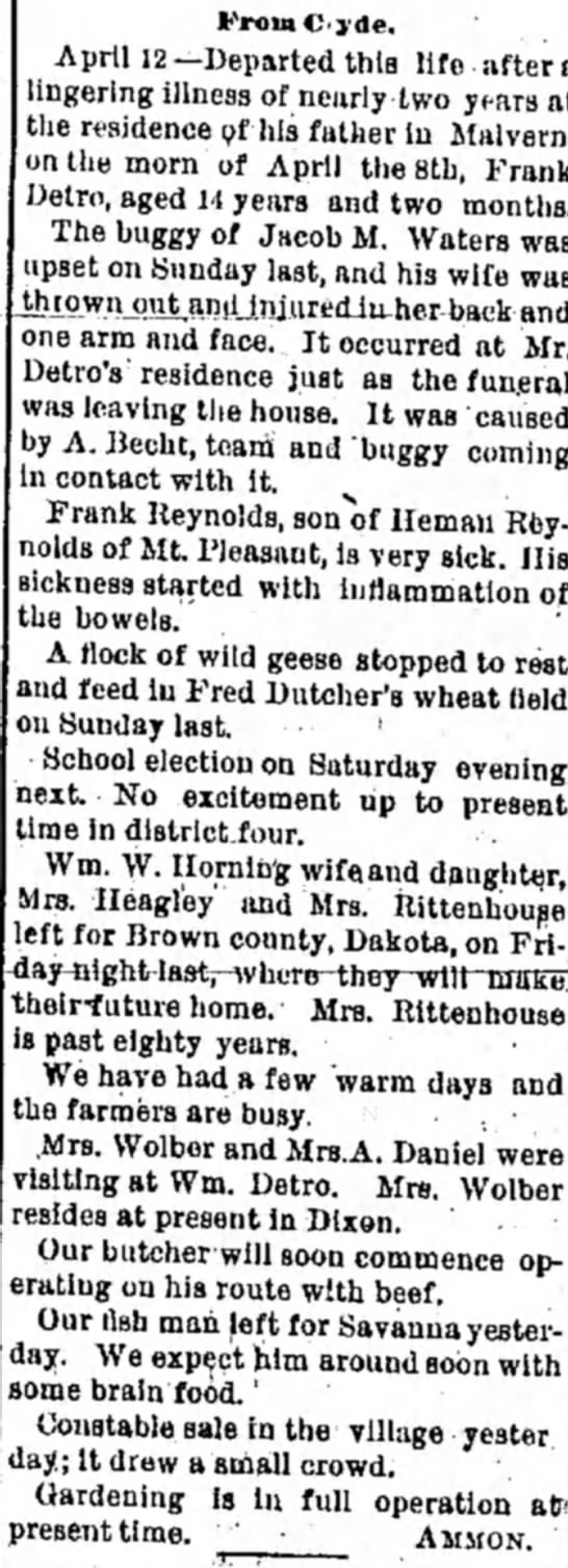 Sterling Daily Gazette Sterling. IL 13 April 1887 - FroraC<)'de. April 12—Departed this life after...