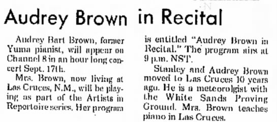 Audrey Bart Brown Recital Las Cruces 1974 -