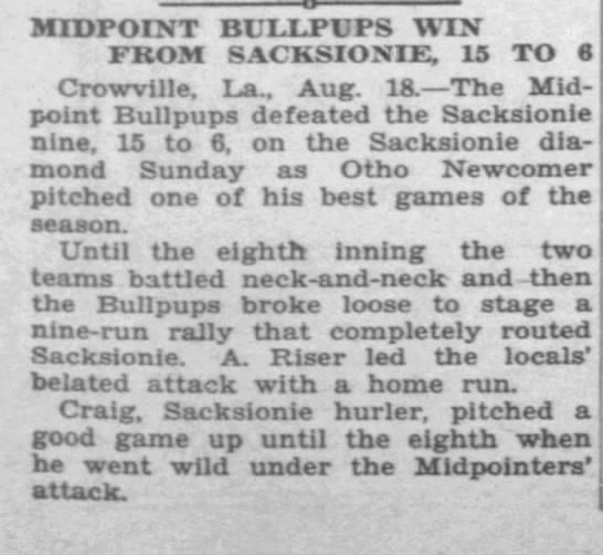 Sacksionie Nine Baseball -