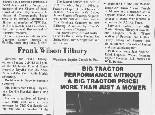 Frank Wilson Tilbury Obit - Newspapers com