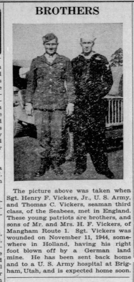 Sgt. Henry F. Vickers and Thomas C. Vickers -