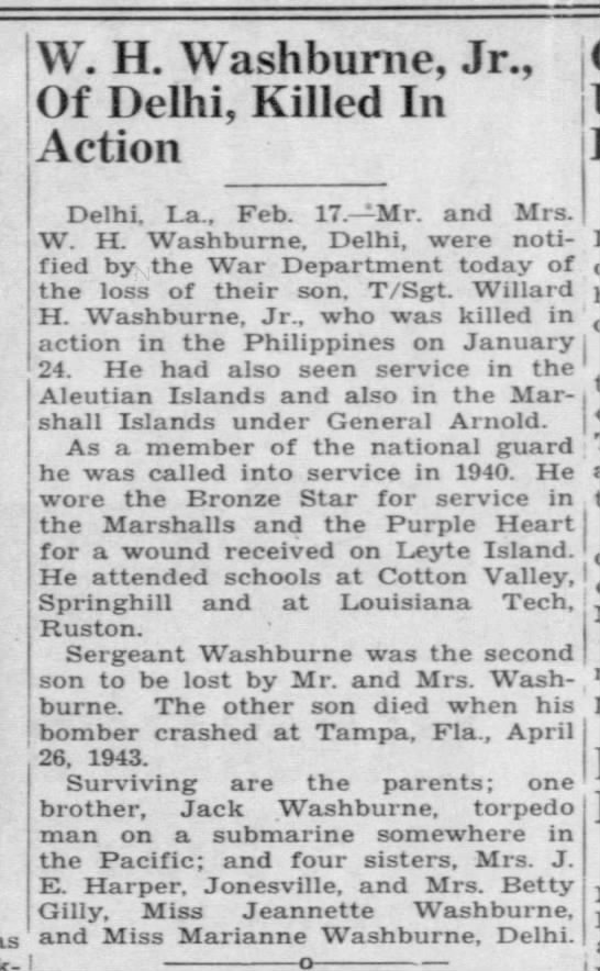 W.H. Washburne, Jr., of Delhi, Killed in Action -