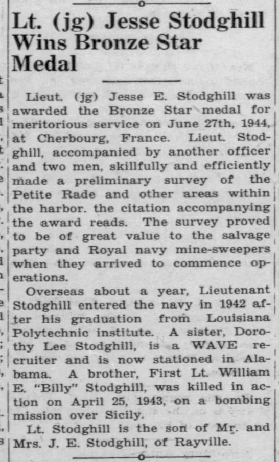 Lt. Jesse Stodghill Wins Bronze Star Medal from service in France. -