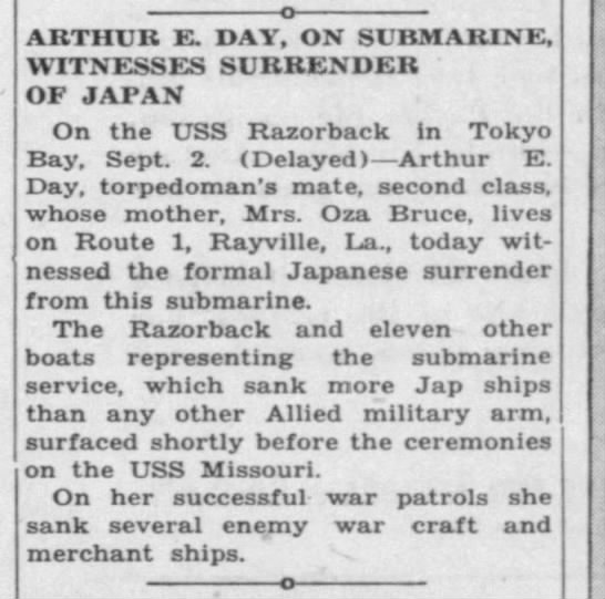 Arthur E. Day, On Submarine, Witnesses Surrender of Japan, via USS Missouri -