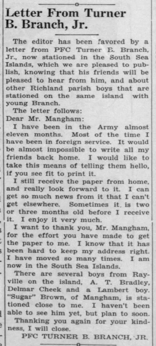 Letter from PFC Turner B. Branch, Jr. -