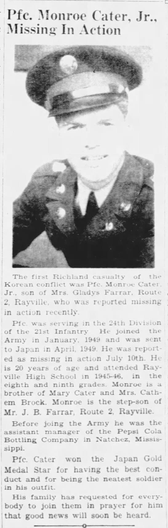 Pfc. Monroe Cater, Jr. -
