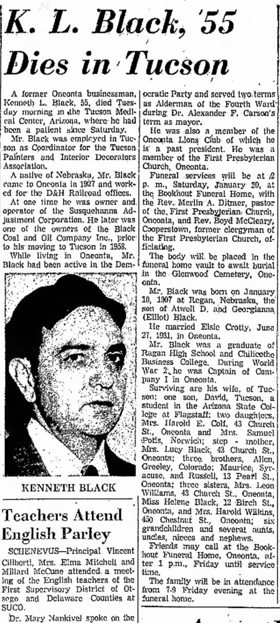 K.L. Black Obituary -