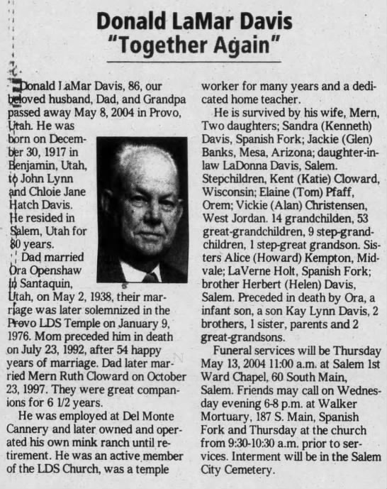 Donald LaMar Davis Obituary 11 May 2004 - Newspapers com