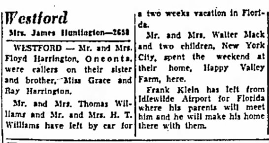 Macks' home in Westford, Happy Valley Frm, The Oneonta Star, 6 Mar 1957 -