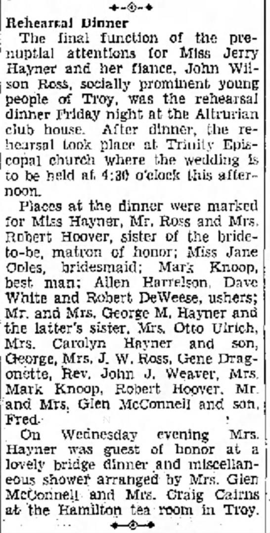 Rehearsal Dinner for sister of Mrs Robert R Hoover. -