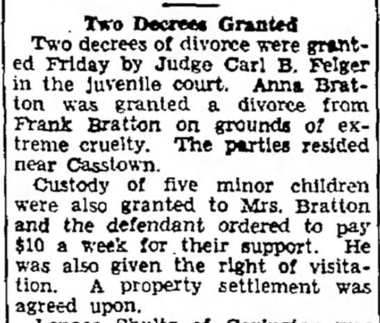 Frank & Anna divorce. - . Tiro Decree Granted Two decrees of divorce...
