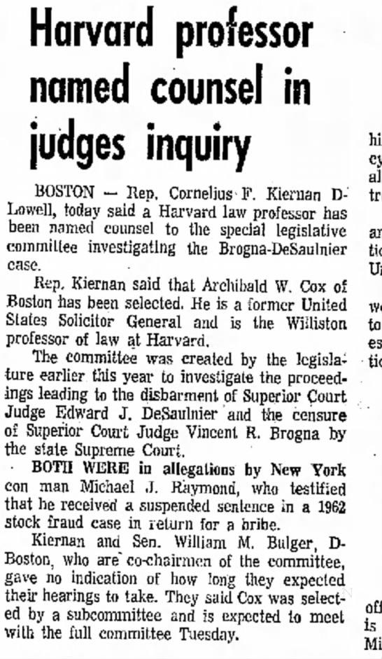 Cox to investigate Mass. judges -
