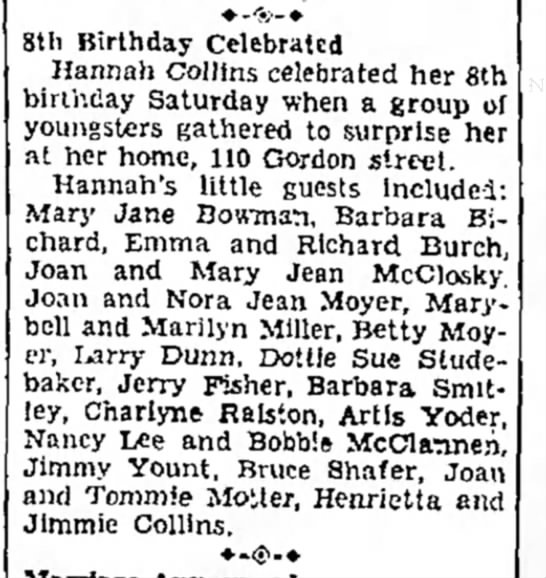 aunt betty - Sth Birthday Celebrated Hannah Collins...
