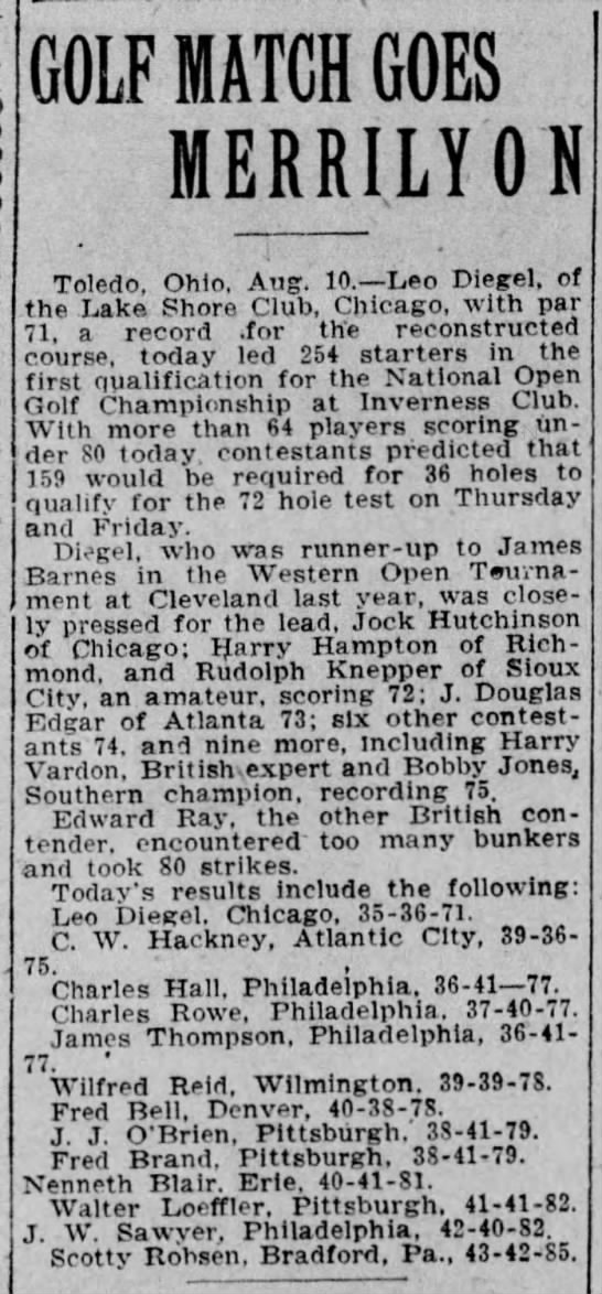 1920 US Open first qualification round shoot 72 ahead of Harry Vardon and Bobby Jones -