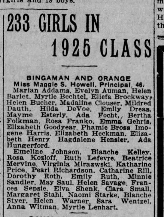 Minnie Sandler 1925 class - 233 GIRLS IN 1925 CLASS BINGAMAN AND ORANGE...
