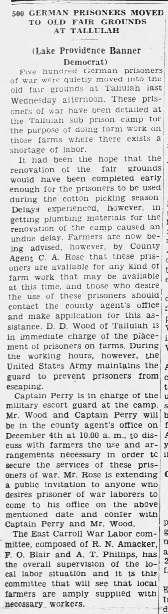 500 German Prisoners Moved to Old Fair Grounds at Tallulah -